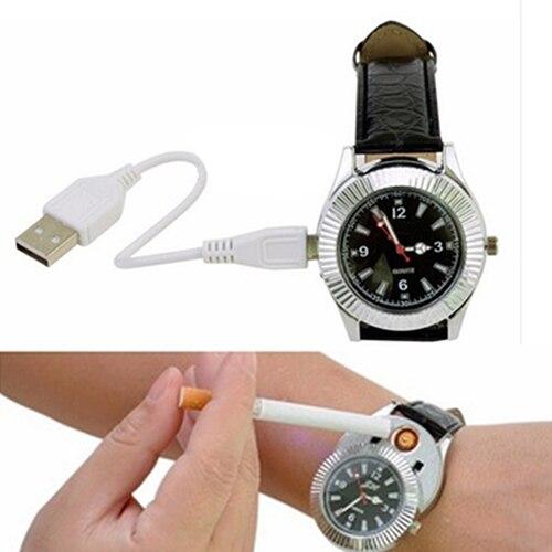 Caliente Reloj de pulsera de Cuarzo con Sin Llama Recargable USB Encendedor Eléc