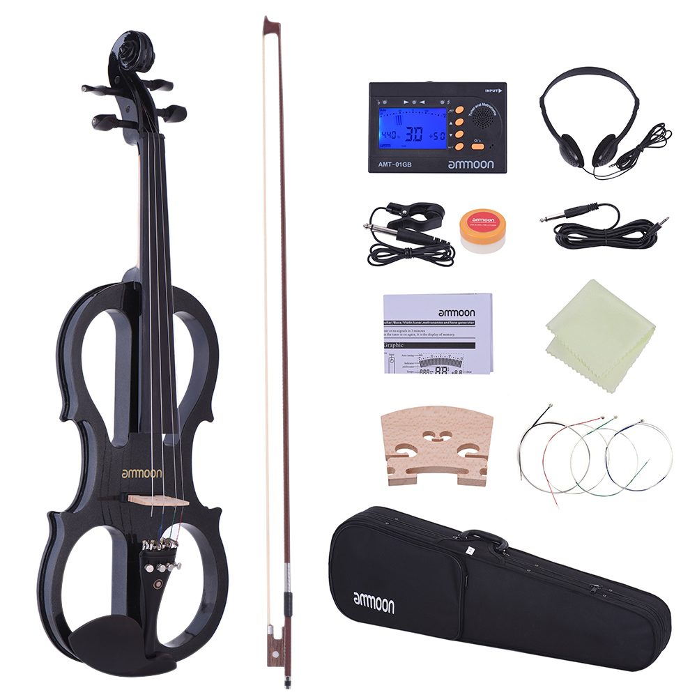 Amicable Ammoon Full Size 4/4 Violin Fiddle Solid Wood Electric Silent Style-1 Ebony Fingerboard Pegs Chin Rest Tailpiece With Bow Case With The Best Service Violin