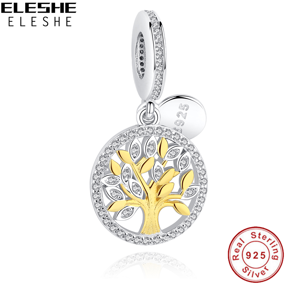 ELESHE 925 Sterling Silver Family Tree Crystal Charms Beads Fit byzylyk origjinal varëse byzylyk DIY Bizhuteri Autentike Making