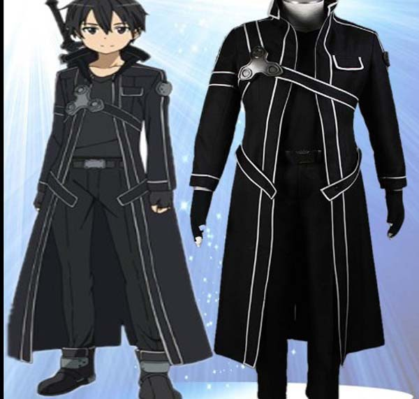 Free Shipping Kirito Cosplay Costume For Male Halloween ...