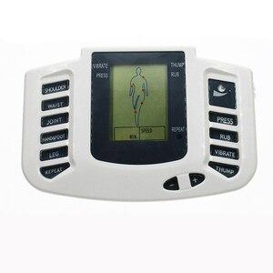 Image 4 - Электрический стимулятор мышц на русском/английском языках, массажер для похудения, расслабляющая импульсная машинка для иглоукалывания, тапочки, 16 подушечек