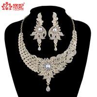 Donne di Stile India Set di Gioielli Da Sposa collana di Cristallo orecchini set Da Sposa Monili Del Partito Accessori pavone di stile di modo