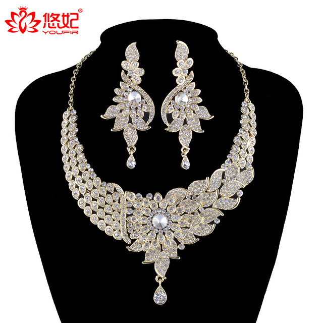 India Style Women Wedding Jewelry Sets Crystal Necklace Earrings Set Bridal Party Accessories Pea Fashion
