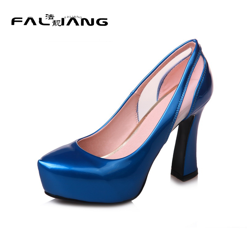 ФОТО 2017 New Round Toe platform extreme high heels Sandals Big Size 11 12 Sexy Square heel Shallow women shoes woman ladies womens