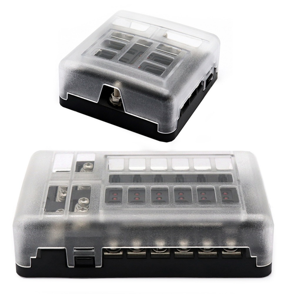 Dc 12 32v Truck Motorhome Coach Boat Bus Bar Power Distribution Buss S Type Fuse Box Universal 6 Way With Led Lights