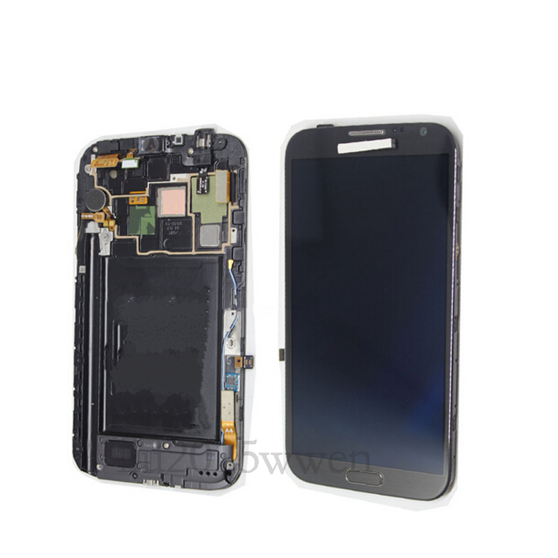 For Samsung Galaxy NOTE2 N7100  N719 LCD Display Touch Screen Digitizer Assembly with frame replacement lcd display touch screen digitizer with frame assembly repair part for samsung n7100 galaxy note2 white