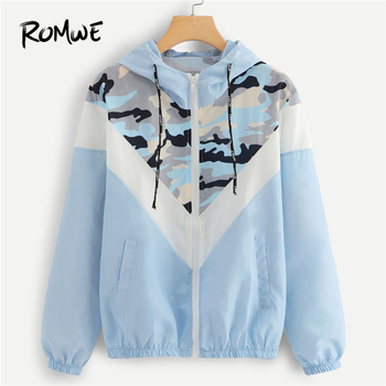 ROMWE Blue Mesh Camouflage Print Hooded Jacket Women Casual Autumn Drawstring Long Sleeve Clothing Coat Zip Up Hoodie Outerwear