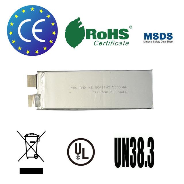 3 unids/lote You & Me célula de la batería lipo 3.7 V 5000 mah recargable