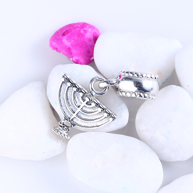 Authentic New 100% 925 Sterling Silver Fit Original Pandora Bracelet Menorah Pendant DIY Charms Beads for Jewelry Making Gift