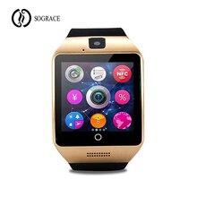 Homens Mulheres Q18 Passometer Inteligente Watch Phone Com Tela Sensível Ao Toque Relógios Câmera Suporte Cartão SIM Bluetooth Smartwatch para Android