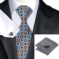 Nueva Hot Mens Tie Brown Azul A Cuadros Corbata Para Los Hombres Wedding Party Supplies Corbata Hanky Gemelos Set Negocio C-1102