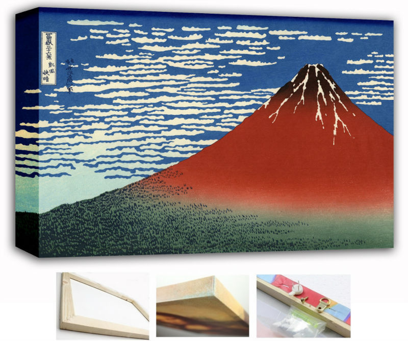 wood canvas frame fuji mountains in clear weather katsushika hokusai 36x2420x12 inch big japan