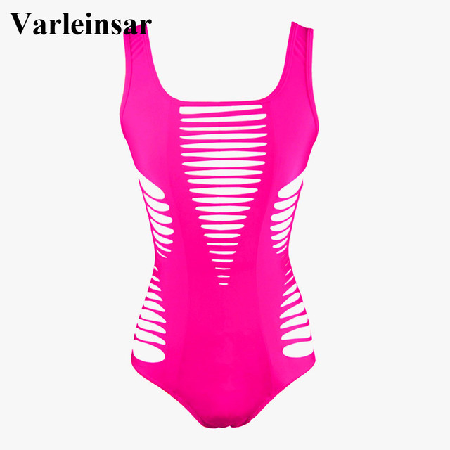 2017 New Black Red Rose Sexy laser cut hollow out one piece swimwear Female swimsuit bathing suit for women swim wear beach V167