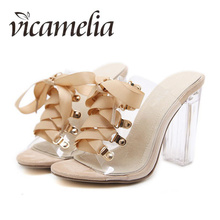 Vicamelia Ladies Transparent High-heeled Straps Sandals Women Sexy Bowtie Slippers Open Toe Cross-tied Sweet Casual Slippers 049 apricot contrast point toe pu heeled slippers