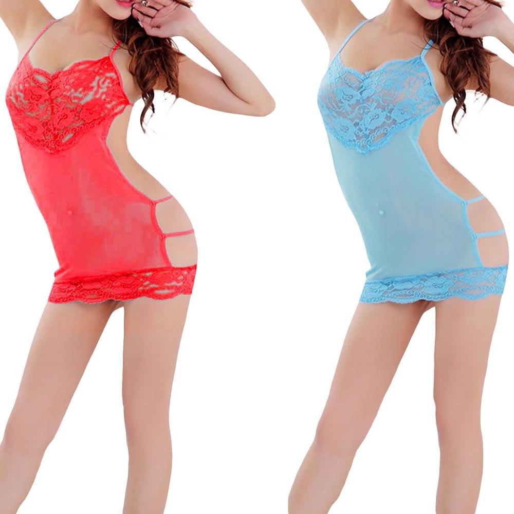 Women Sexy Lingerie Lace Backless Underwear Sleepwear Minidress+G-string