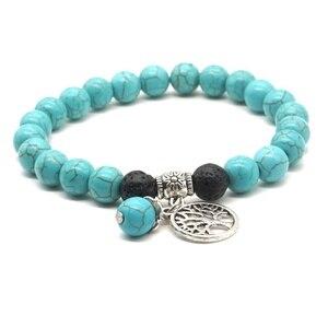 Image 2 - Liebhaber Baum des Lebens 8mm Lava Stein Kallaite Healing Balance Perlen Reiki Buddha Gebet Ätherisches Öl Diffusor Armband Schmuck