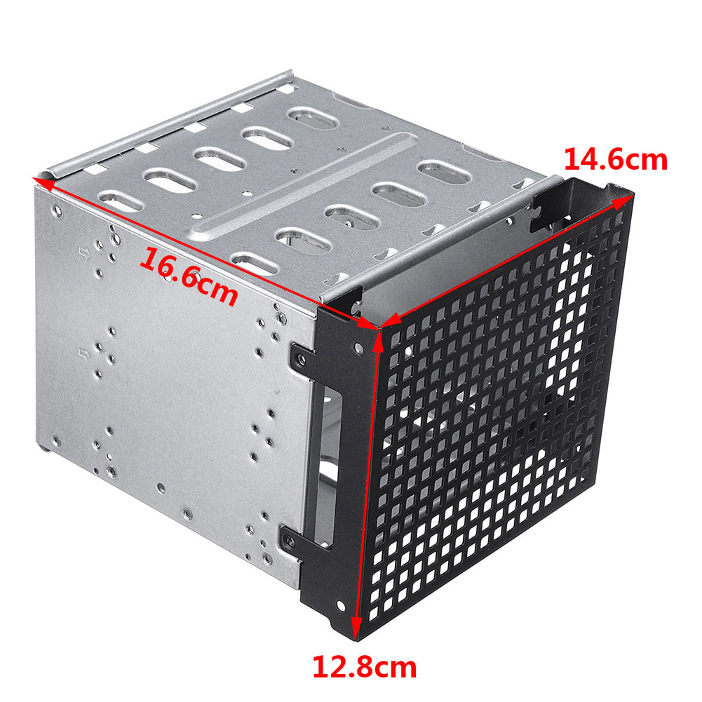 New 5.25 to 5x 3.5 SATA SAS HDD Cage Rack Hard Driver Tray Caddy with Fan Space 2018 5 25 to 3 5 sata sas hdd hard drive cage adapter tray caddy rack bracket for 3x 5 25 cd rom slot internal or external pc diy