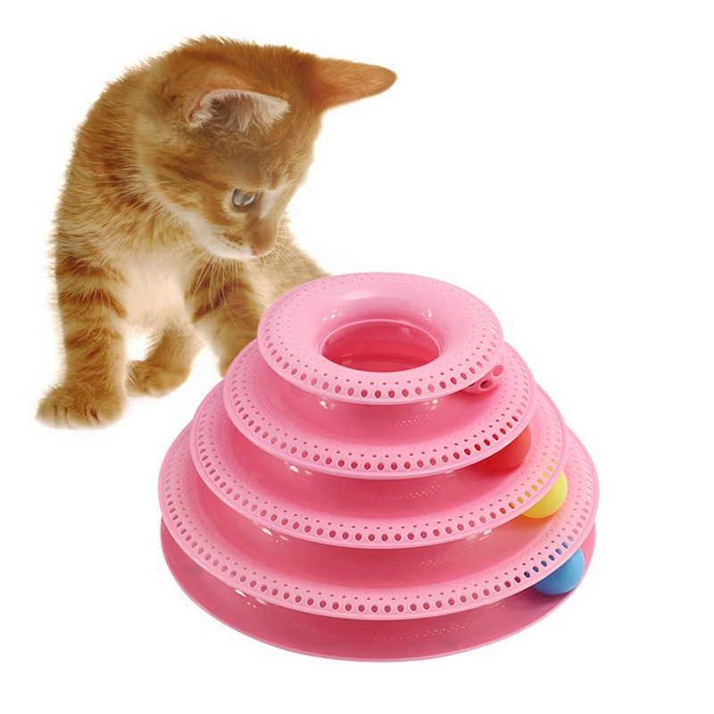 Funny Pet Toys Play Disc Trilaminar Turntable Cat Crazy Ball Disk Interactive Amusement Plate Cat Toy 2018 New Year