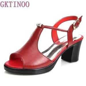 Image 2 - حقيقية أحذية من الجلد النساء الصنادل زقزقة اصبع القدم عالية الكعب الصنادل الجلدية حقيقية حجر الراين السيدات أحذية