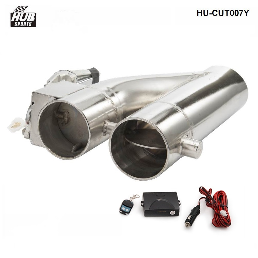 """2.5/"""" E-Cut out Valve Y-Pipe Muffler Catback Bypass Exhaust CutOut Remote Control"""