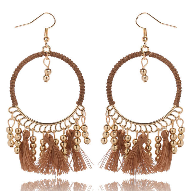 Cotton Fringing Tassel Earrings