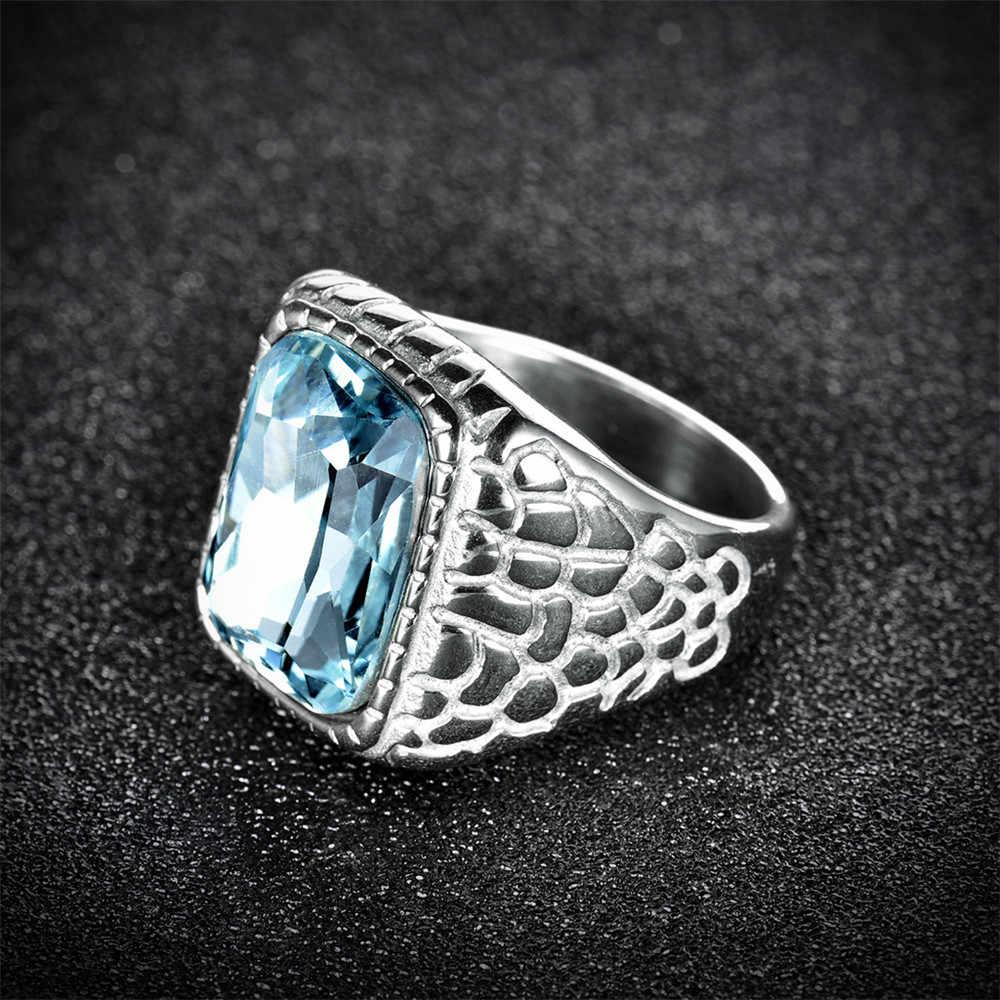 Moliamที่ไม่ซ้ำกันสแตนเลสบุรุษแหวนสลักแสงเครื่องประดับหินสีฟ้าแฟชั่นงานแต่งงานขนาดแหวน10 mlbr158