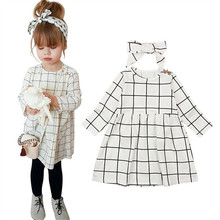 Модная одежда для маленьких девочек; платья в клетку с длинными рукавами и круглым вырезом; повязка на голову с бантом; комплект из 2 предметов; Повседневная хлопковая одежда для новорожденных