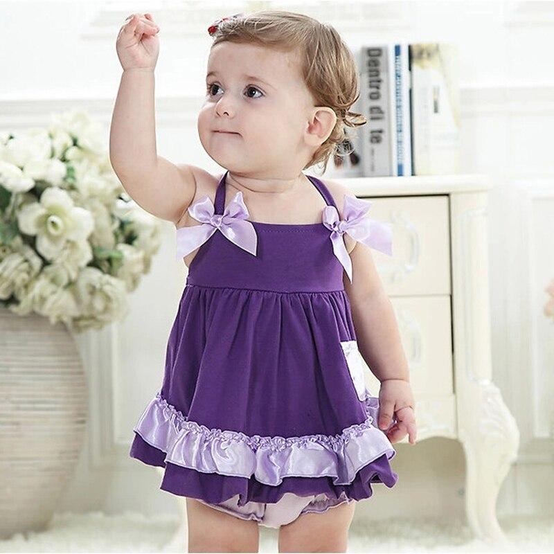 Gratis frakt sommar baby kläder uppsättningar bomull bow-knot - Babykläder