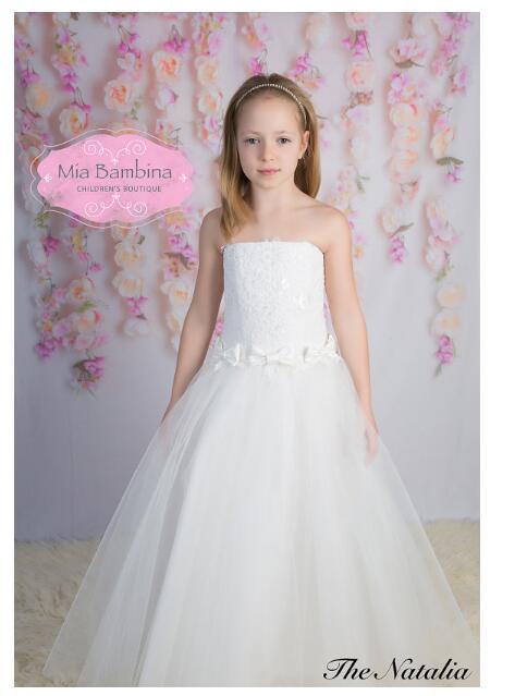 ebe6f2e1ad6 Girl s Long Formal Dress 2017 Autumn Flower Princess Dresses Strapless Lace  Kids Party Ball Gowns Children s Wedding Dress White