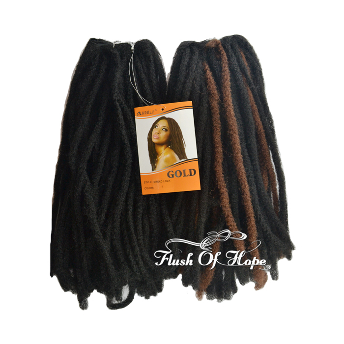 2 Packslot Noble Gold Dreadlocks Synthetic Hair Extensions Afro