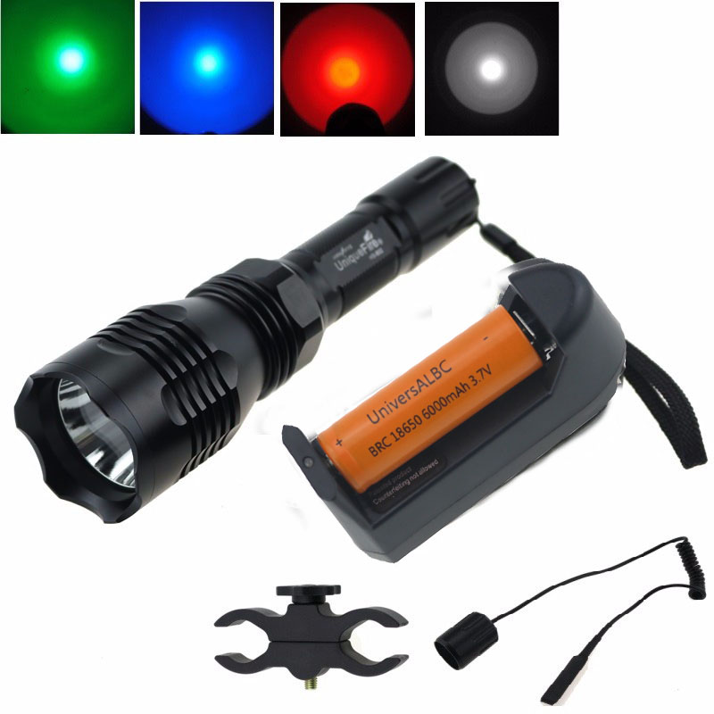 UniqueFire HS-802 Cree green/red/blue light led hunting flashlight torch with battery+charger+ remote switch+gun mount uniquefire uf 1405 cree xpe red white green led flashlight 18650 long distance torch 300 lm rechargeable battery gun mount