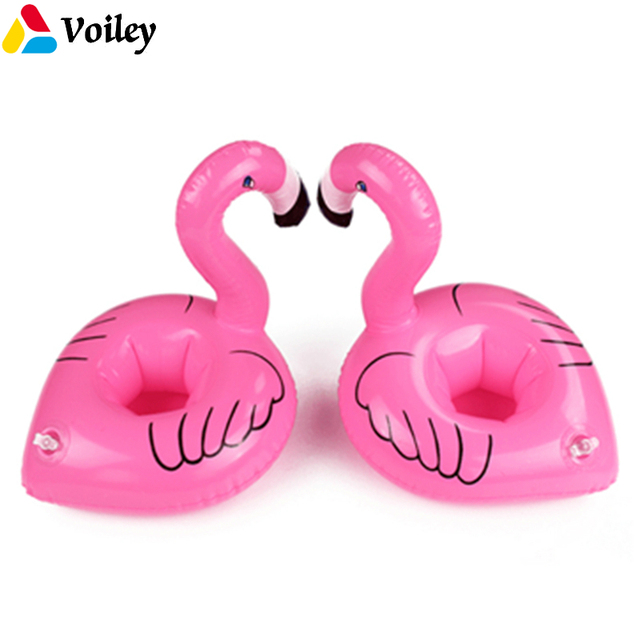 VOILEY Mini Unicorn Pink Flamingo Inflatable Beer Cup Holder Hawaiian  Tropical Drinking Floating Carnival Party Decor