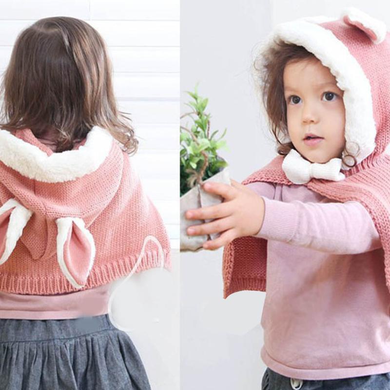 Baby Girls Winter Knit Wool Cute Rabbit Children Shawl Kids Hooded Shawl Autumn Winter Super Soft Thick Warm Clothing Accessor