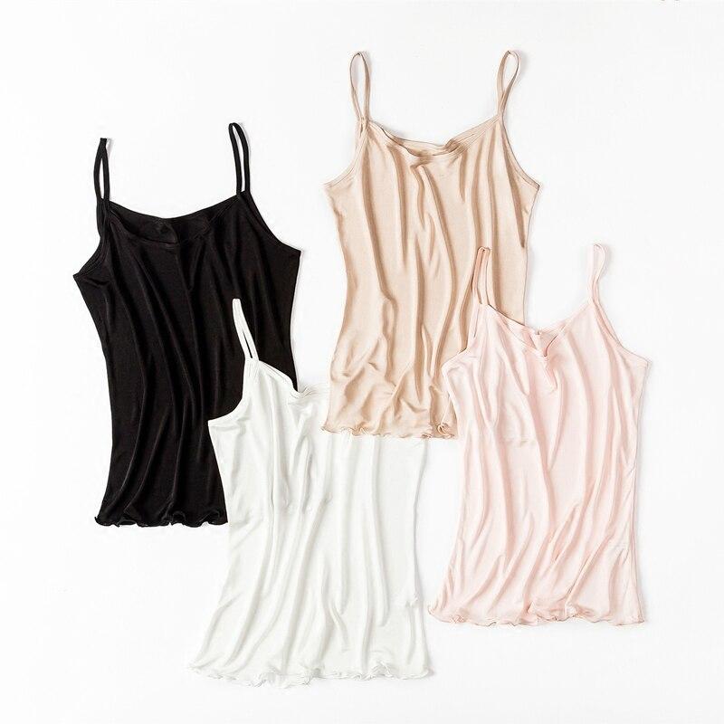 Fashion New Summer Soft Women 100% Silk Camisoles Tank Top Black White YH96