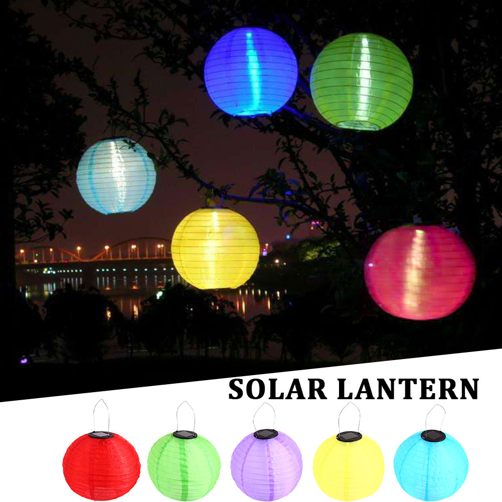 Lantern Lighting Warm Light LED Lantern Lights Chinese Paper Ball Lampions For Wedding Party Outdoor Decoration Solar Lamp