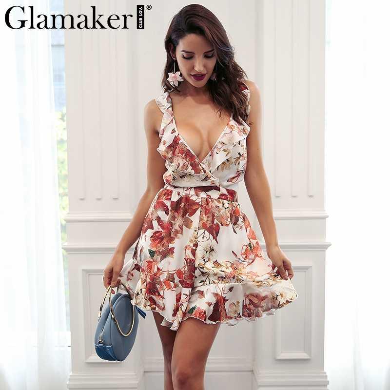 528486fa4cb Glamaker Ruffle flower print women junmpsuit romper Sexy beach loose summer  jumpsuit playsuit Female backless bohemia