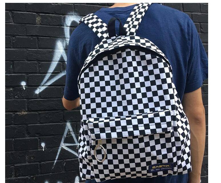 Vintage Street Japan Korean Canvas Checkerboard Plaid Backpacks Student School Men Women Bag Buckle Zipper College Travel 100pcs