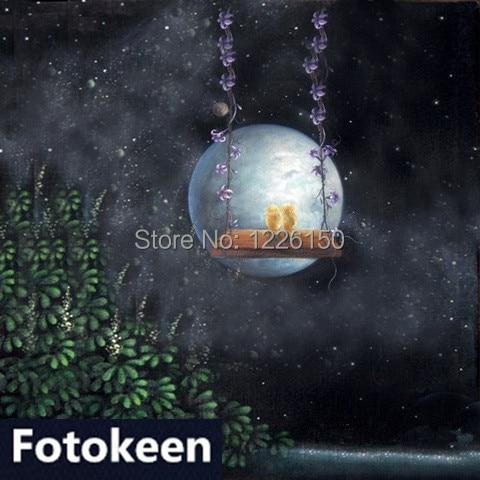 Toile de fond en mousseline fantaisie peinte à la main 10ft * 20ft, photographie fundos FC0090, décors de photographie en tissu, toile de fond pour studio