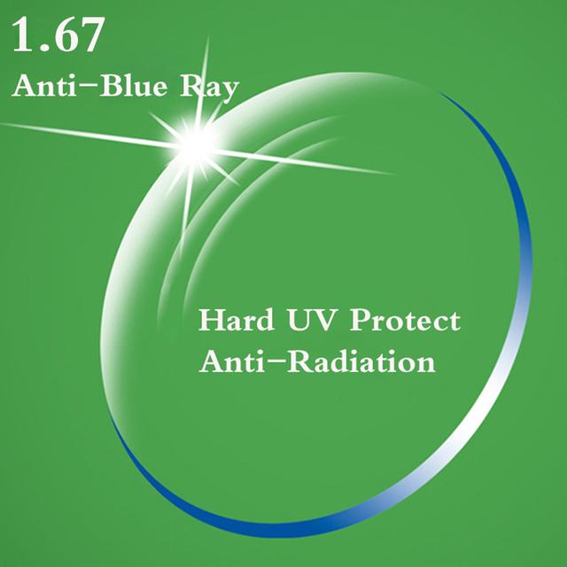 1.67 Índice de Ultra Finas CR-39 Asférica Lente Miopia Óculos de Leitura Prescrição Óptica UV Proteger Anti-Radiação Blue Ray RS246