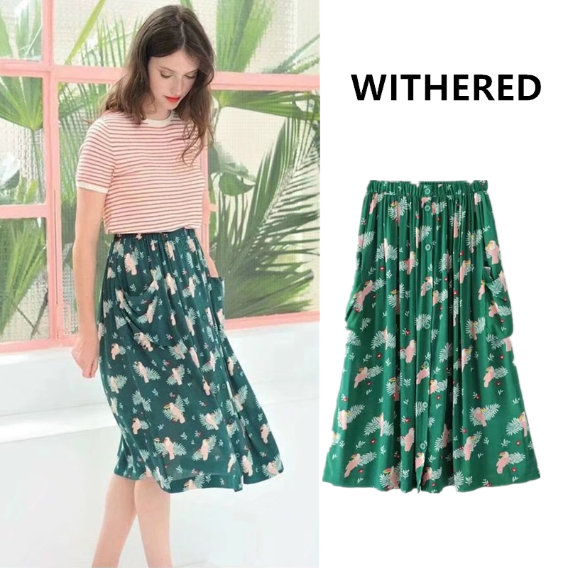 Withered 2017 women skirt Tropical bohemian bird printing vintage beach pocket button knee length pure cotton skirts women