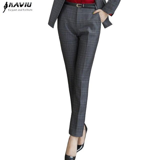 Naviu New Fashion Women Winter Pants Work Business Office Ladies Plus Size Slim Plaid Trousers