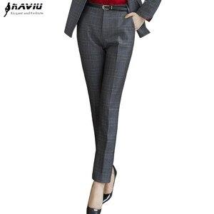 Image 1 - Naviu جديد الموضة النساء سراويل شتوية العمل مكتب الأعمال السيدات حجم كبير السراويل منقوشة ضئيلة