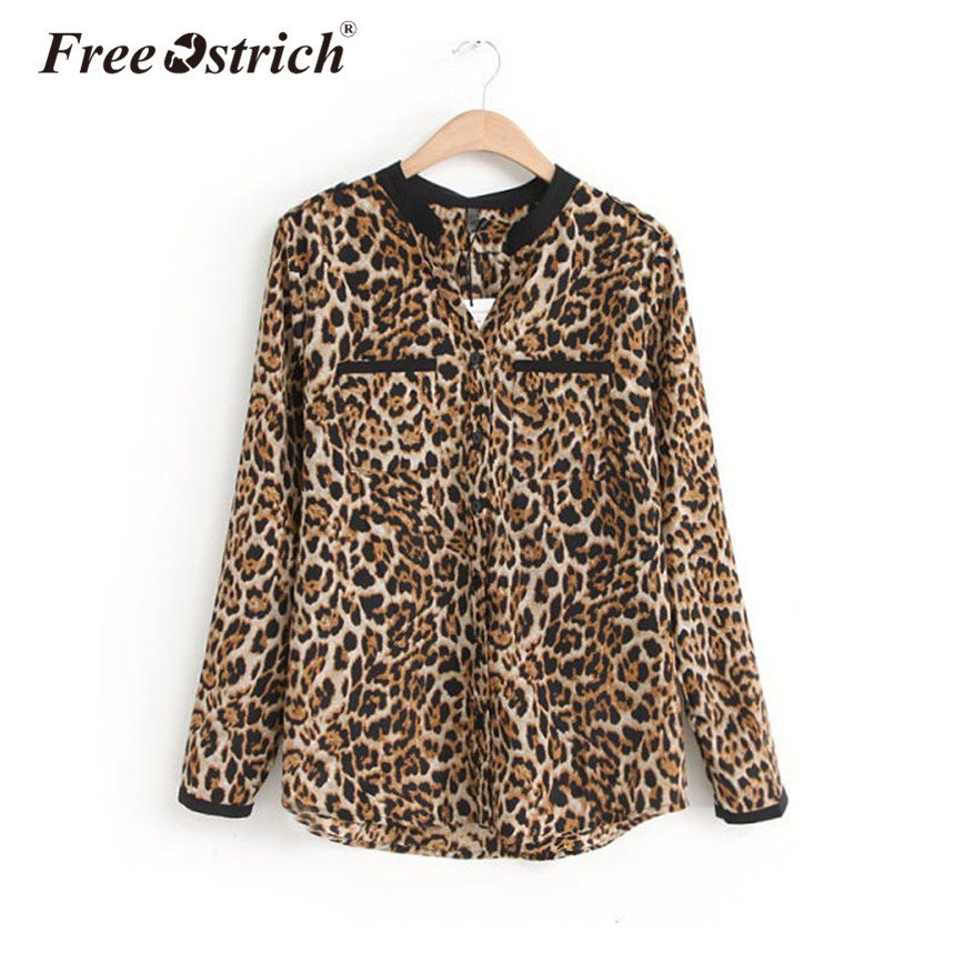 Free Ostrich Leopard Print Shirt Women Long Sleeve Pockets Casual V-Neck Women Tops Autumn Spring Warm Blouse