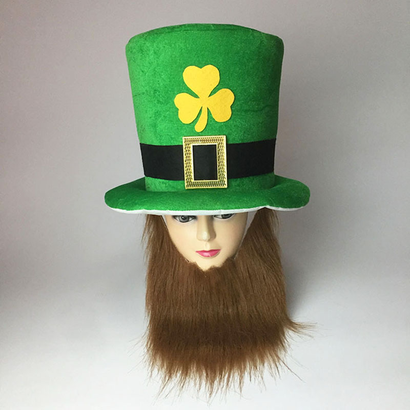 Saint Patrick Costume Leprechaun Top Hat Beard Accessory Party Cosplay Cap Reland Clover Green Party Irish Hats ST Patrick's Day