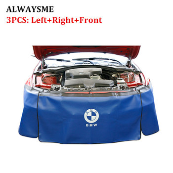 ALWAYSME 3PCS Automotive Mechanic Magnetic Leather Fender Cover Protector Gripper Mat Pad With Hooks For Repair Auto