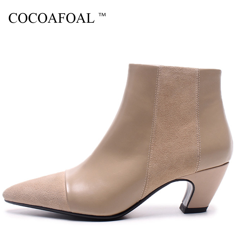 COCOAFOAL Woman Genuine Leather Chelsea Boots Apricot Black Autumn Winter High Heels Boots Fashion Pointed Toe Ankle Boots 2018