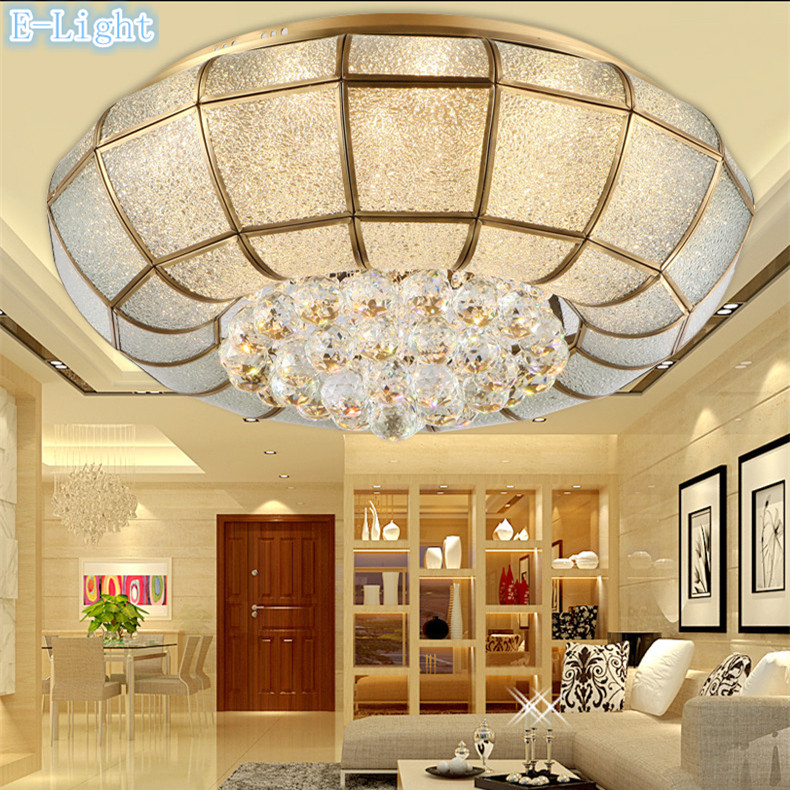 Modern Europe Luxury Crystal Ceiling Light Use Copper Glass Cover For Living Room Cristal Lamp Bedroom Lighting 45cm