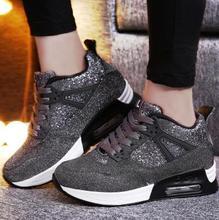 Deporte Pisos Casual Zapatos Estupendos de la Plataforma Suela Gruesa Ascensor de Alta Superior Zapatos de Lona de Los Holgazanes zapatos de mujer 2017 Nuevo