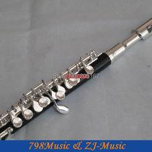 Резиновое пикколо-флейта серебро C Ключ сплит-е Деревянный чехол