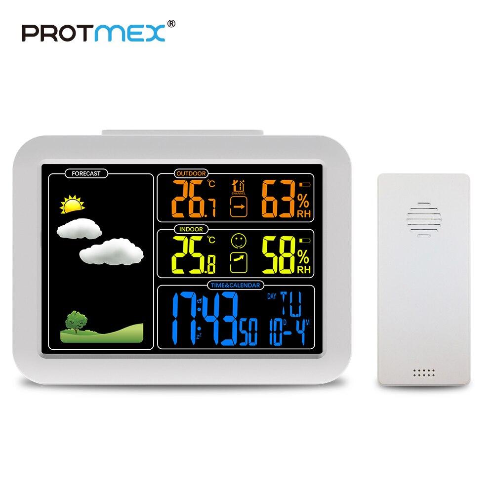 PROTMEX PT7002W LCD Estación Meteorológica Inalámbrica alarma reloj Digital higrómetro termómetro barómetro pronóstico alarma diaria tipo de pared